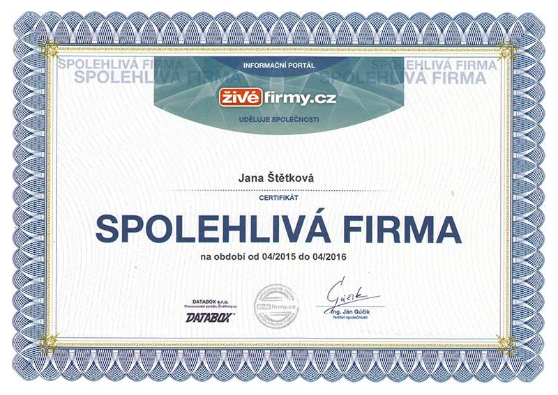 Certifikát – Spolehlivá firma